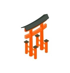 Floating torii gate japan icon vector