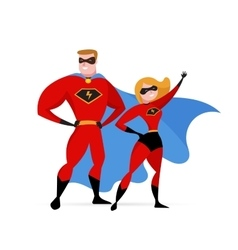 Super hero couple - woman and man vector