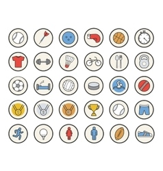 Active sport games color icons set vector