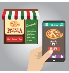 Hand holding smart phone order pizza using a vector