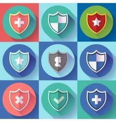 Security shield icon set - protection symbols vector