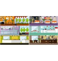 Banner with restaurant interiors kitchen vector
