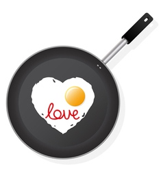 Frying pan with egg vector
