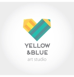 Art design heart yellow and blue pencils abstract vector image vector image