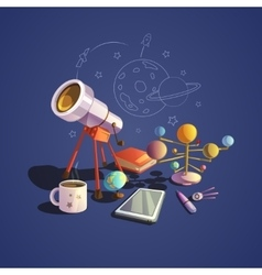 Astronomy cartoon set vector