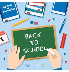 Back to school flat style background with chalk vector