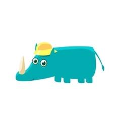 Blue Rhino In A Cap vector image