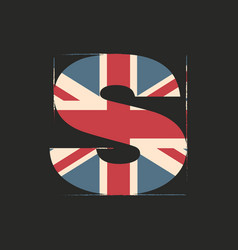 Capital 3d letter s with uk flag texture isolated vector