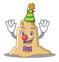 Clown sandcastle character cartoon style vector