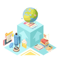 distance education isometric design vector image