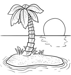 Doodle palm tree island vector