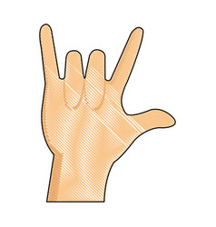 drawing hand man rock n roll gesture music icon vector image