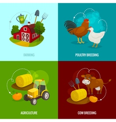 Farm square concepts cartoon farming banners with vector image vector image