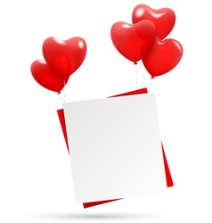 Festive love red paper hang on multicolored vector image