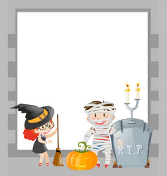 frame template with halloween theme vector image