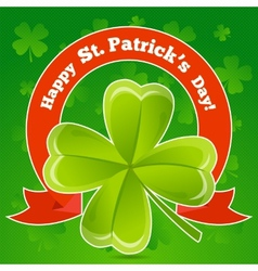Greeting card patricks day with clover vector image vector image