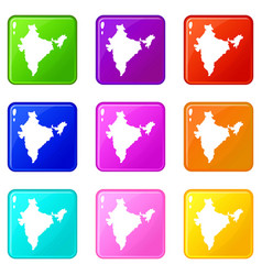 Indian map icons 9 set vector
