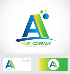 Letter A green blue logo vector image vector image