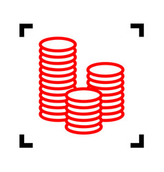 Money sign red icon inside vector