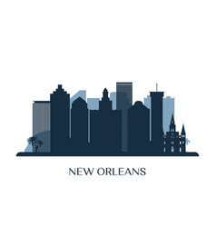New orleans skyline monochrome silhouette vector