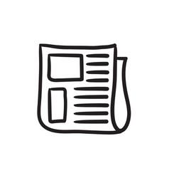 Newspaper sketch icon vector
