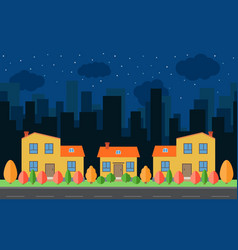 night city with cartoon houses vector image vector image