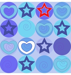 pattern with marine stars and hearts vector image vector image
