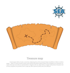 pirate map on white background treasure hunters vector image