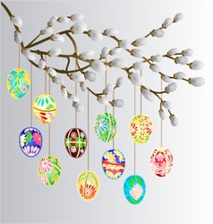 Pussy willow branch and multi colored easter eggs vector image