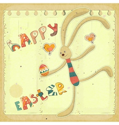 Retro Easter Card with Bunny vector image