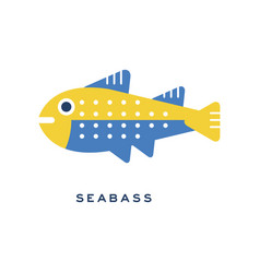 seabass sea fish geometric flat style design vector image