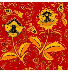 Seamless hohloma floral pattern vector