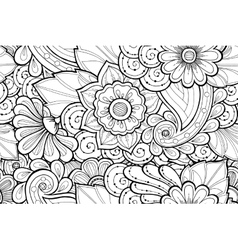 Seamless ornamental black and white pattern with vector