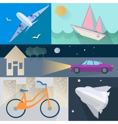Set flet transport plane car boat home bike vector