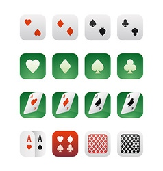 Set of icons for applications with playing cards vector image vector image