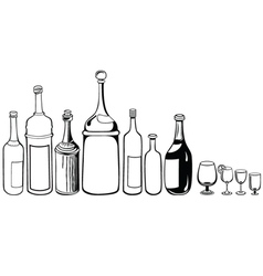 Set of old bottles and wineglass vector