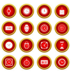 time and clock icon red circle set vector image