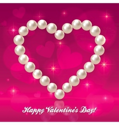 Valentines day pearls heart vector image