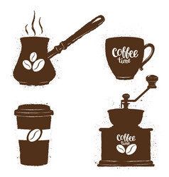 vintage coffee objects and lettering set vector image