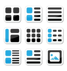 Website display options and photo gallery icons vector image vector image