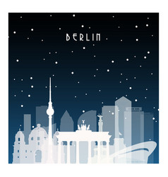 Winter night in berlin night city in flat style vector