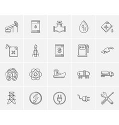 Ecology sketch icon set vector