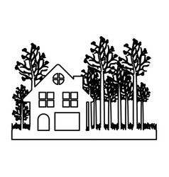 Monochrome contour of cottage in the forest in vector