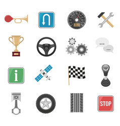 racing car icon set vector image
