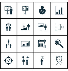 Set of 16 authority icons includes personal vector