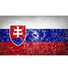 Flags slovakia with broken glass texture vector