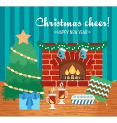 Christmas cheer and attributes christmas gift vector