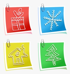 christmas symbols with sticky vector image