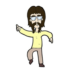 Comic cartoon hippie man wearing glasses vector