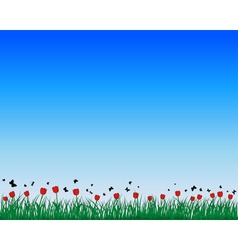 Tulips field background vector